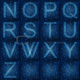 Glowing fonts on digital abstract background