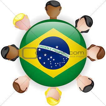 Brazil Flag Button Teamwork People Group