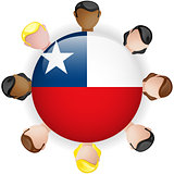 Chile Flag Button Teamwork People Group