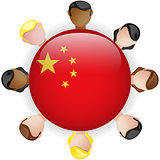 China Flag Button Teamwork People Group