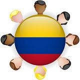 Colombia Flag Button Teamwork People Group