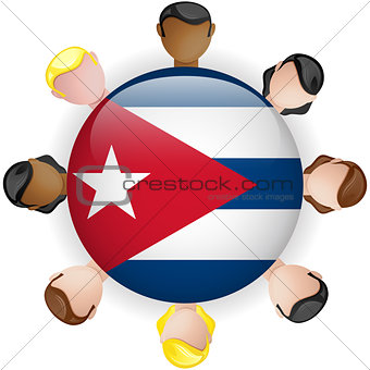 Cuba Flag Button Teamwork People Group