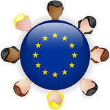 Europe Flag Button Teamwork People Group