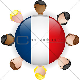 France Flag Button Teamwork People Group
