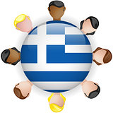 Greece Flag Button Teamwork People Group