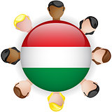 Hungary Flag Button Teamwork People Group