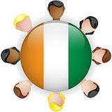 Ireland Flag Button Teamwork People Group