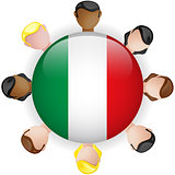 Italy Flag Button Teamwork People Group