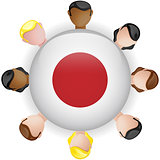 Japan Flag Button Teamwork People Group
