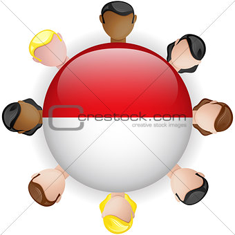 Monaco Flag Button Teamwork People Group