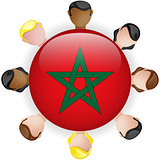 Morocco Flag Button Teamwork People Group