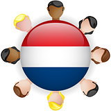 Netherlands Flag Button Teamwork People Group