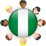 Nigeria Flag Button Teamwork People Group