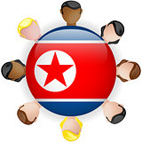 North Korea Flag Button Teamwork People Group