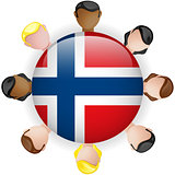 Norway Flag Button Teamwork People Group