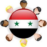 Syria Flag Button Teamwork People Group