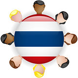 Thailand Flag Button Teamwork People Group