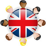 UK Flag Button Teamwork People Group