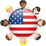USA Flag Button Teamwork People Group