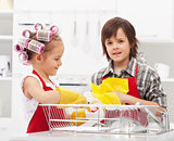 Kids doing the dishes