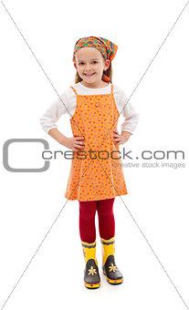Little girl dressed for gardening