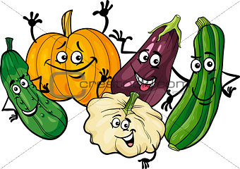 cucurbit vegetables group cartoon illustration