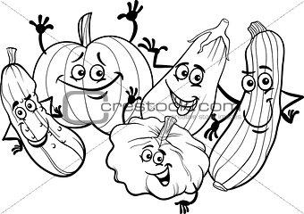 cucurbit vegetables for coloring book