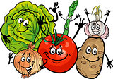 vegetables group cartoon illustration
