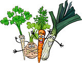 soup vegetables group cartoon illustration