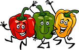 peppers vegetables group cartoon illustration