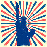 Liberty on grungy burst background