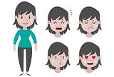 Girl and expressions