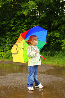 little girl with an umbrella in the rain