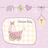 baby girl shower card with stroller