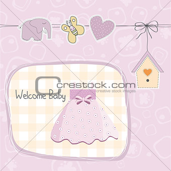 baby girl shower card with dress