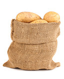 Ripe potatoes in sack on white background