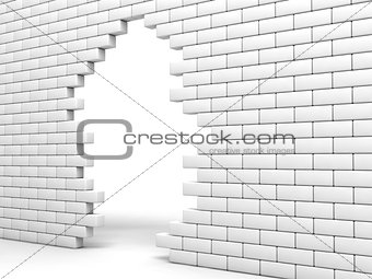 broken brick wall of white color