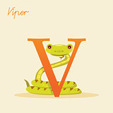 Animal alphabet with viper