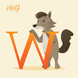 Animal alphabet with wolf