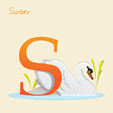 Animal alphabet with swan