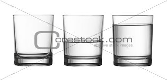 low empty, half and full of water glass isolated on white with c