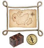 Old treasure map, rope frame, chest and compass isolated on whit