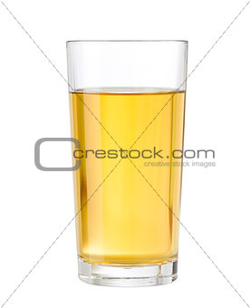 apple or grape clarified juice in glass isolated with clipping p