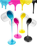 Magenta, cyan, yellow and black liquid paints isolated