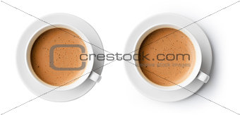 cup of coffee with beautiful foam isolated on white, top view