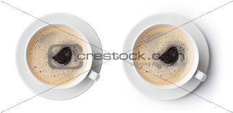 cup of coffee isolated on white, top view