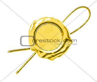 Gold seal or tag isolated on white
