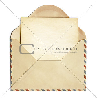 retro envelope with old blank paper sheet isolated on white