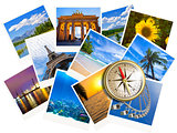 Traveling photos collage with gold compass isolated on white