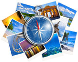 Traveling photos collage with compass isolated on white backgrou